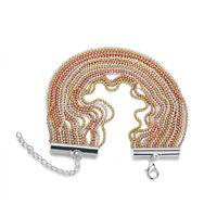 Tricolor Kugel Armband Kette 18-22cm lang 4 cm breit 21,9 g Gold Silber Kugeln