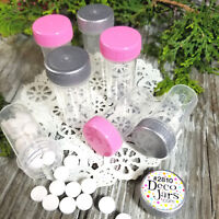 6 Tiny Tubes Vial Travel Size Meds Pill Bottle Container Pink Silver Cap #2810