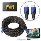 Trenzado Cable HDMI V1.4 AV HD 3D para PS3 XBOX HDTV 15 metros 1080P