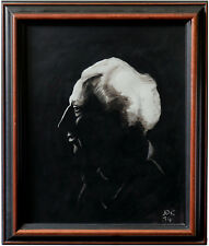 """""""White Haired Conductor""""  Original India Ink Painting - 13.5"""" x 16.5""""   Framed"""