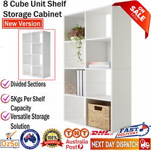 8 Cube Storage Shelf White Display Cabinet Cupboard Bookshelf Unit Toy Book