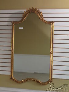 33522: FRIEDMAN BROTHERS #6211 Scrolled Top Gold Gilt Mirror with Red Rub ~ New