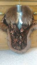Vintage  C50new design real soft lamb leather with coyote fox  fur cape stole