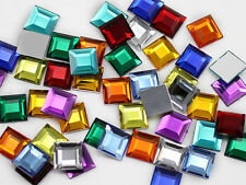 15mm Assorted Colors Square Flat Back Acrylic Jewels Gems - 75 Pieces