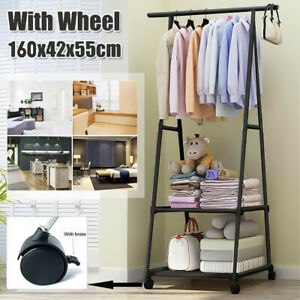 Garment Dress Hanging Clothes Rail Rack Shoe Storage Shelf Display Stand Metal