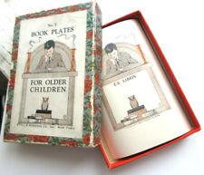 Antique Edwardian Original Full BOX BOOK PLATES FOR OLDER CHILDREN Wise Owl