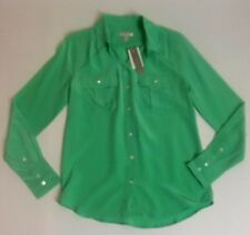 New J Crew Silk Blythe Blouse Size 0 Sea Glass Green