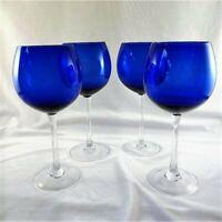 "Cobalt Blue Clear Stem 4 Wine Goblets Water Glasses Tumblers 8.5 "" Tall 16 .oz"