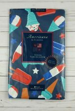 Vinyl Tablecloth 60 Round Americana Red White Blue Popsicle Ice Cream