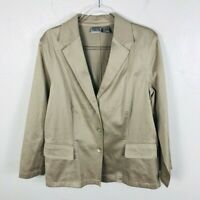 Chico's Size Large 12 2 Tan Button Front Jacket Casual Travel
