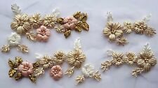 2 Pairs Handmade Floral Ribbon Embroidery Applique Motif Lace Sewing Trim EB0269