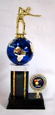 1st and 2nd - 9 Ball Billiard Trophies with globe - Free Engraving