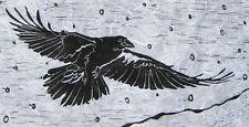 Raven Original Block Print Linocut Signed Limited Edition by Katherine Grey