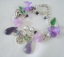 Lavender Pentacle Charm Bracelet, wiccan pagan wicca witch witchcraft pentagram
