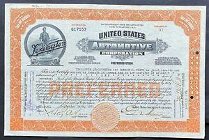 "UNITED STATES AUTOMOTIVE CORP Stock 1921. Lexington, Kentucky. ""Minute Man"" VF++"