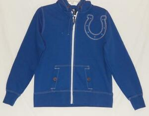 INDIANAPOLIS COLTS NFL Women's Blue Embroidered Logo Full Zip Hoodie Size Medium