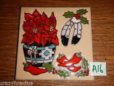 Ceramic Tile 6x6 Christmas Native American Pointsetta Chilis Feathers A16
