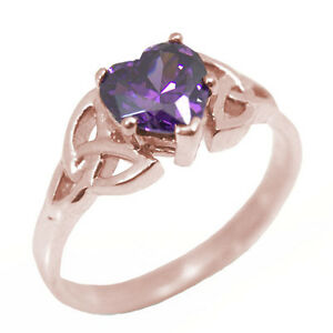 Trinity Knot Ring Heart Shaped 1ct Amethyst Diamond Unique 9ct Gold