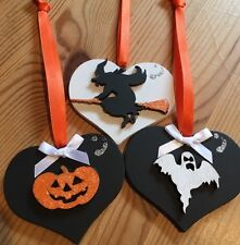 3 Halloween Decorations Handmade Hanging Witch Pumpkin Ghost Orange Black Whit