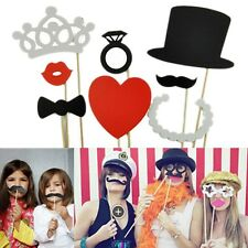 ~*~Wedding Day Photo Booth Props 8 Piece~Moustache~Lip~Ring~Heart~Crown~Hat~*~