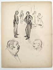 F. H. Townsend (1868–1920) Charcoal cartoon sketch. Two gentlemen conversing.