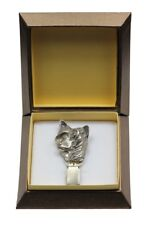 Chinese Crested - silver plated clipring with dog in box, high quality, Art Dog
