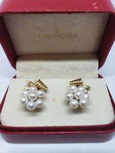 Vintage 14k Yellow Gold Mikimoto 12 Pearl Cluster Screw Back Earrings w/ Box