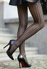 fishnet tights CHEVRON leaves lace pattern geometric black