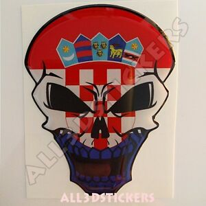 Sticker Flag Croatia Skull Adhesive Decal Resin Domed Car Moto Tablet 3D