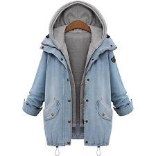 Damen Übergröße Outwearlinie Locker Denim Jeans Mantel Jacke Kapuzenpulli Weste