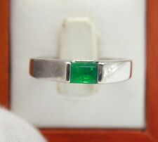 VINTAGE LADIES 14K WHITE GOLD NATURAL EMERALD SOLITAIRE ENGAGEMENT RING.SIZE 8.5