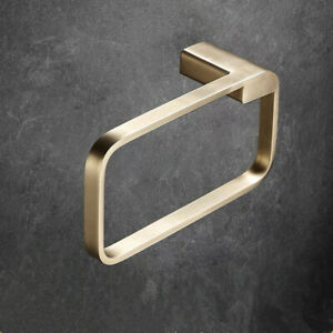 Luxury Brushed Gold Towel Ring Stainless Steel Towel Storage Holder Wall Mount