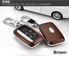 Brown Car Remote FOB Key Case Leather Cover 5BTN For Land Rover  4 Range Rover