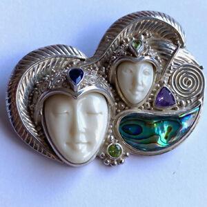Offerings Sajen SS Double Goddess Pin-Pendant wth Paua Shell, Amethyst & Peridot