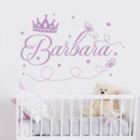 Princess Name Wall Decal Crown Decal Girls Name Sticker Nursery Decor MA57
