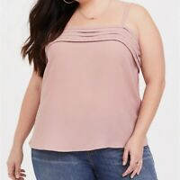 TORRID Cami 5/5X Dusty Pink Pleated Swing Tank Top Georgette Shirt Plus Size New
