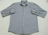 Hugo Boss Gray 17 XL Dress Shirt Long Sleeve Mans Button Front Checks Slim Fit