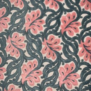 """Vintage Cut Velvet PINK GREEN Floral Chenille Upholstery Fabric 52""""x42"""" Retro"""