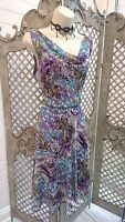 🌹 SOON 🌹PURPLE WATERCOLOUR FLORAL FLOATY COWL TEA DRESS WEDDING PARTY UK 12