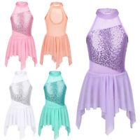Girls Ballet Dance Dress Kids Sequins Lyrical Leotards Skirts Dancewear Costumes