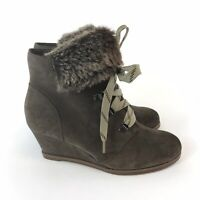 Clarks Sumerset UK 4D Brown Leather Suede Ankle Zip Lace Up Faux Fur Wedge Boots