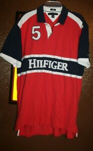 Tommy Hilfiger Big Spell Out Hilfiger Custom Fit Polo Shirt Mens XXL Red Blue