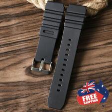 PREMIUM RUBBER SILICONE DIVER'S Watch Strap Band BLACK 18mm