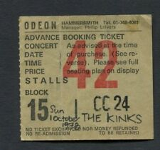 1978 The Kinks concert ticket stub Odeon Hammersmith London UK You Really Got Me