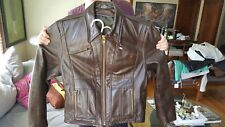 Vintage Brown Extremely Heavy Duty Leather Mod Motorcycle Jacket, Men's Sz. 38