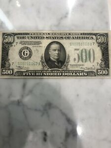 1934 $500 BILL HIGH QUALITY FEDERAL RESERVE FIVE HUNDRED DOLLARS *CHICAGO *NOTE