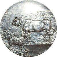 O7252 Médaille Bœuf Cow Sheep Pig Entrepreneurs Travaux Public Silvered