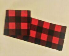 """BUFFALO PATTERN-RED & BLACK BLOCKED PATTERN FLEECE SCARF- HANDMADE- 8"""" W x 60"""" L"""