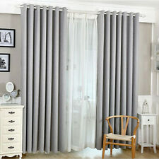 Cotton Linen Blackout Window Curtains for Living Room Bedroom (Gray