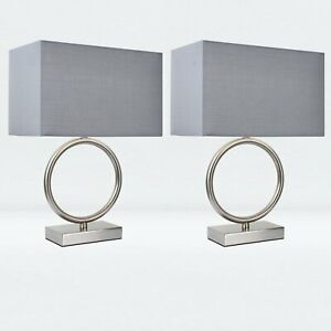 Pair of Modern Hoop Design Table Lamp Bedside Lights with Grey Shades